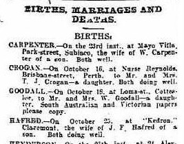 Birth notice for B Goodall