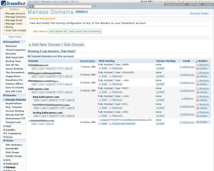 screenshot of DreamHost administration panel