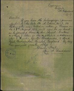 May Alice Scadden's letter to the AIF