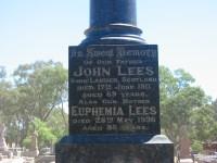 John Lees Euphemia Lees Elmore Cemetery