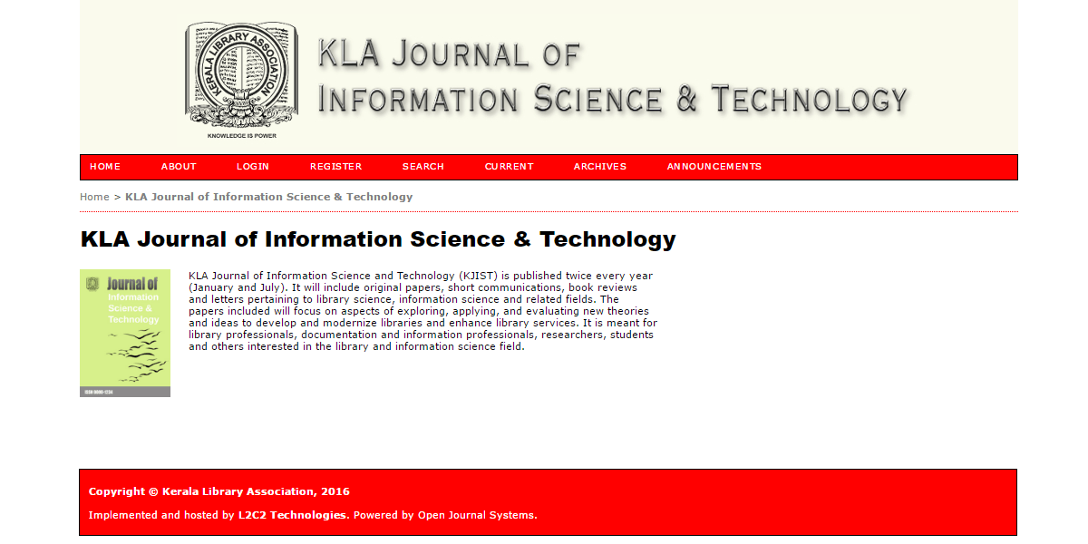 Supporting Kerala Library Assn's new open access journal KJIST