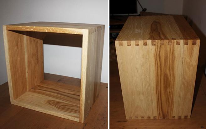 cubes de rangement en bois massif sur