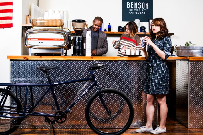 Thane Wright, Ali Paolucci and Laura Gilreath making/drinking some coffee at Benson NY's showroom
