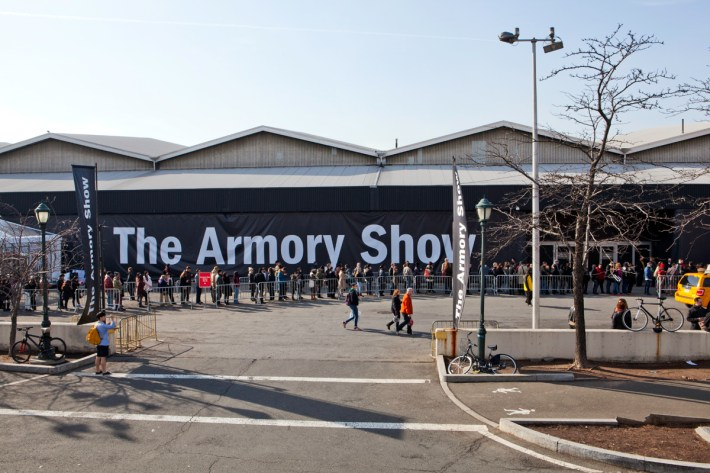 The line to get in to the Armory Show