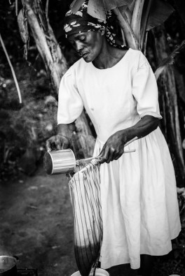 Making coffee the Haitian way.