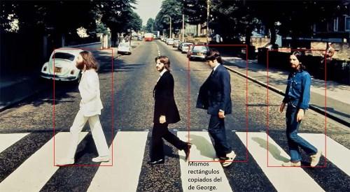 El rectángulo rodeando a George copiado en los otros muestra el tamaño de la imagen de los personajes. Señalar también que Faul lleva las sandalias.