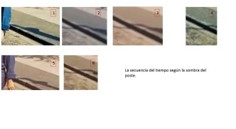 Detalle de los cuadros que se han ido remarcando anteriormente. Muestra cómo fue cambiando la sombra del poste conforme avanzaba la sesión.