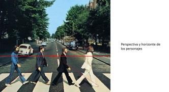 En este caso el horizonte que indica la altura de la lente de la cámara se ubica a la altura del pecho de los personajes. De esta forma la estatura de George, Faul (ubicado a varios centímetros de diferencia) y John se ven al mismo nivel. Por lo que se deduce que la imagen de los personajes fue plantada sobre el paisaje.