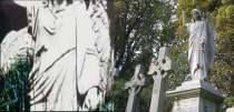 Hice muchas comparativas. El ángel de Band on the run sujeta también una espada con su mano izquierda. Los pliegues de la túnica son exactamente iguales. Lo único que cambia es la cara, masculina en el caso del video, femenina en el cementerio. Pero se está simbolizando a la estatua original.