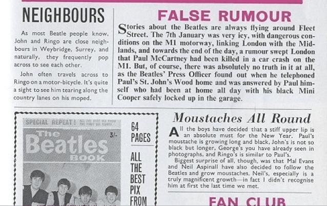 6. desmentido de la Beatles monthly book