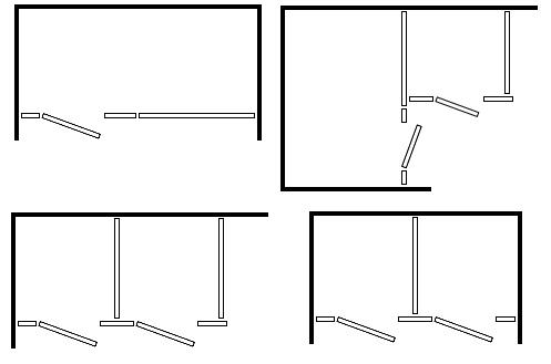 Exemples de configuration de partitions de toilettes Bobrick