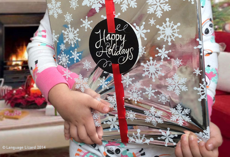 child holding wrapped gift