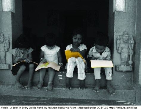 children reading foreign language books