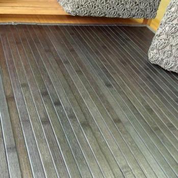 Alfombras de bambú color gris