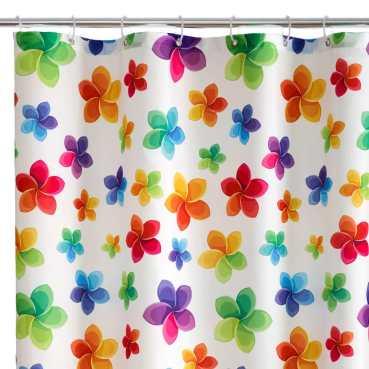 Cortina de baño floreada de tela impermeable