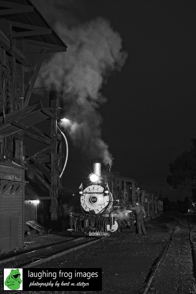 DRGW 315 Night Photo Session, C&TSRR Yard, Chama NM. August 2019.