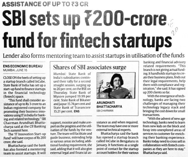 Indian Fintech marketing story - SBI's fintech startup fund