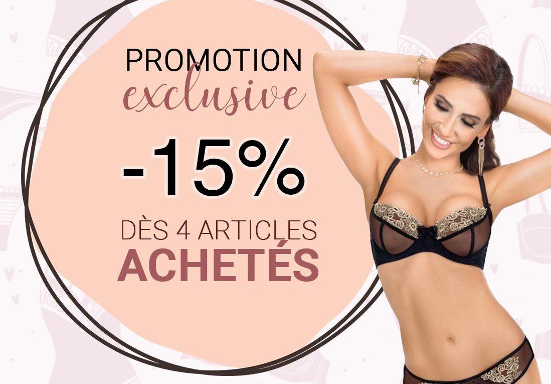 Promotion : -15% dès 4 articles achetés ! Craquez pour notre collection automne / hiver !