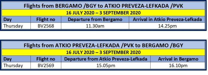 Blu Panorama Bergamo to Atkio Preveza & return