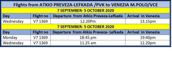 Volotea Flights from Atkio Preveza Lefkada to Venezia July Aug Sep 2020