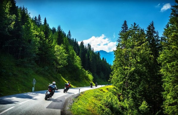 Motorbikes explore Greek nature.