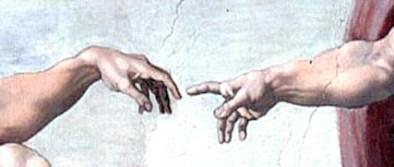 Détail célèbre, l'index d'Adam et celui de Dieu sont séparés par une courte distance, ce qui laisse penser que c'est une séparation entre Dieu et Adam. Ce tableau représente une idée humaniste dans la mesure où l'Homme est à l'image de Dieu.