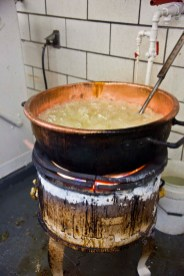 Sugar, cream of tartar and water boil away--the mixture is well over water's boiling point of 212°.