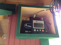 Solar power runs the coop's heat lamp.
