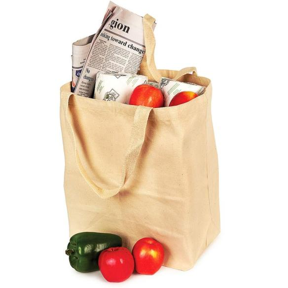 "The Ecobags Shopping Tote is 19""Wx15-1?2""H, made from recycled canvas, and is available at Lehmans.com or Lehman's in Kidron, Ohio."