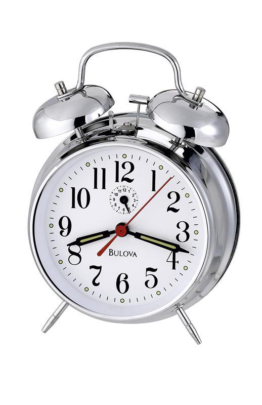 silver metal alarm clock