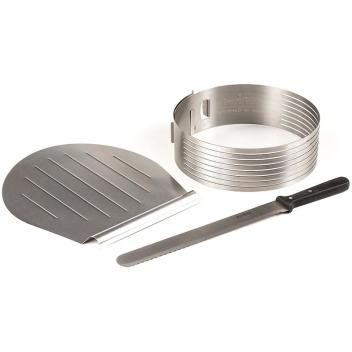 Non-stick steel and aluminum cake slicing set.