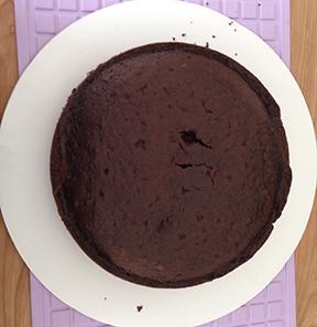 Chocolate layer cooling on cake circle.