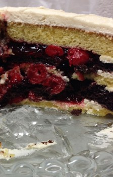 It's hard to see the chocolate layers with the cherry filling, but they're in there. The yellow cake is a little more dense, and even split, held up well to the filling.