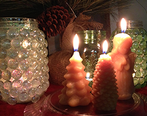 Figured candles and candle jars.