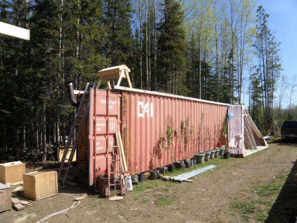 """Rene and her family lived in their """"home sweet shipping container"""" until their small cabin was ready for them to live in."""