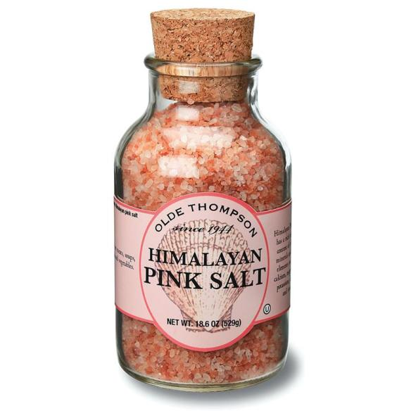 Himalayan Pink Salt: Rich mineral content makes it pink. Ideal for fermenting. In glass jar, 18.6 oz.