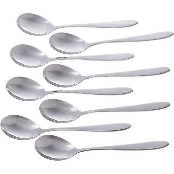 Designed like the spoons years ago with that classic, extra-wide round shape, our soup spoons easily scoop meat, vegetables and broth so you can enjoy every slurp. Set of 8.