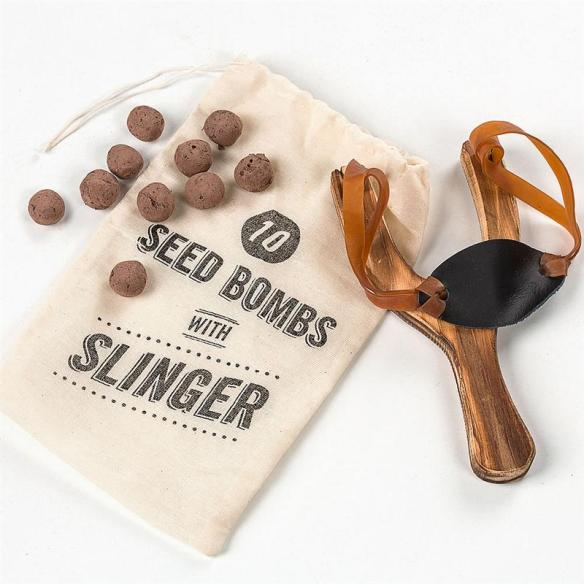 Planting flowers doesn't get more fun than this! Seed slinger with seed bombs at Lehmans.com and our store in Kidron, Ohio.