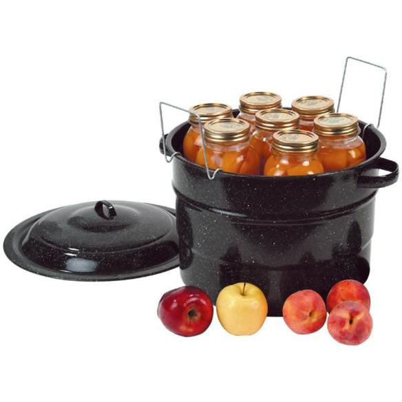 A full pantry means ready-to-go food in an emergency. Start canning with our black enamelware water bath canner. At Lehmans.com and our store in Kidron, Ohio.