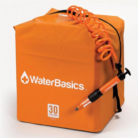 Store 30 gallons of fresh water with this handy collapsible kit. Comes with a pump to transfer water from the tank and a filter that removes 99.9% bacteria, cysts and viruses for safe drinking water. At Lehmans.com and our store in Kidron, Ohio.
