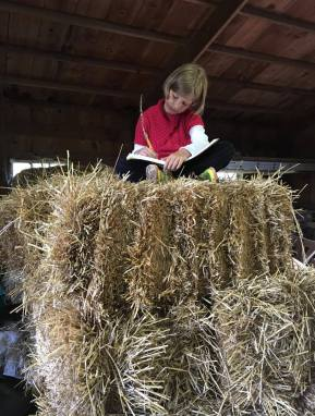 school work in the barn