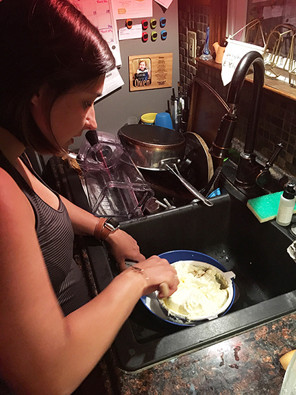 Brittany rinsing butter
