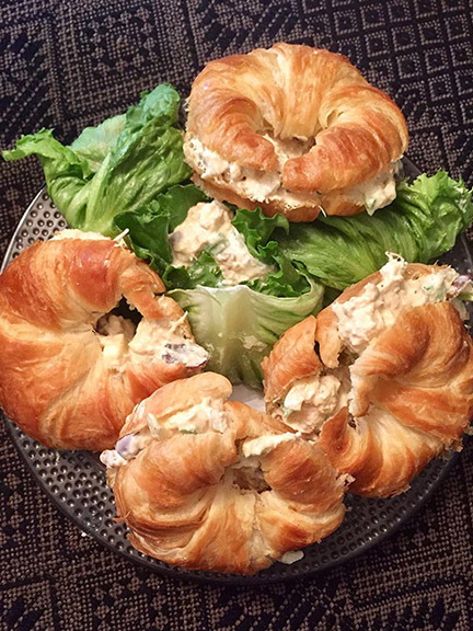 chicken salad on croissants