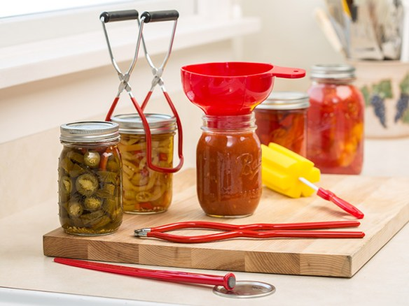 canning jars with tools