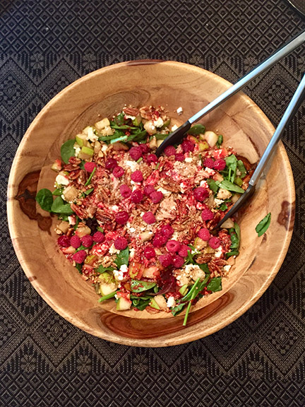 turkey pear salad in bowl