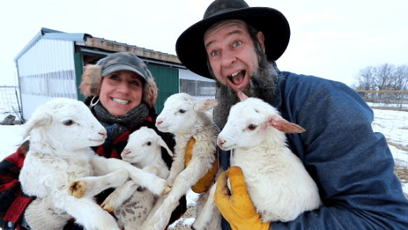 Doug and Stacy with lambs