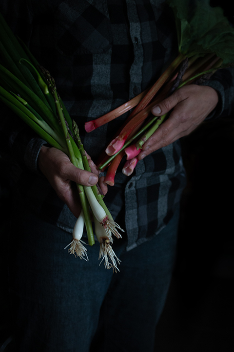 Karen with rhubarb