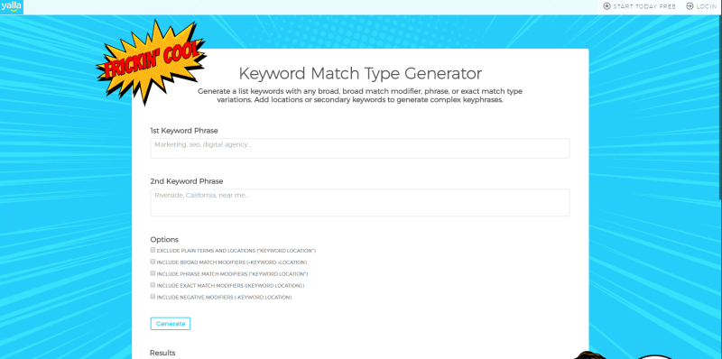 Yalla Keyword Match Type Generator
