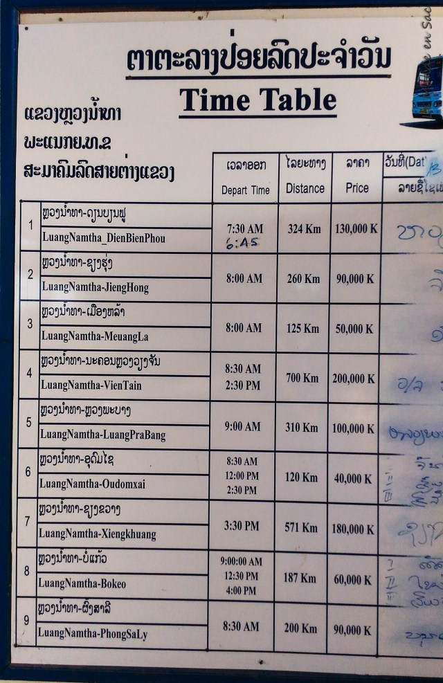 horaires luang namtha