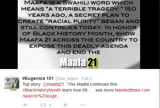 Eugenics 101 Maafa21 tweet black history month